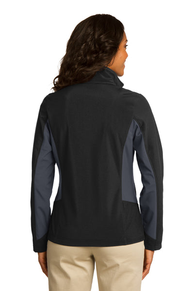 Port Authority L318 Womens Core Wind & Water Resistant Full Zip Jacket Black/Grey Back