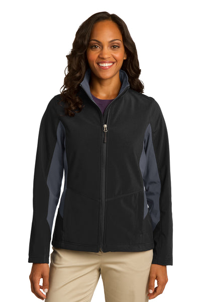 Port Authority L318 Womens Core Wind & Water Resistant Full Zip Jacket Black/Grey Front
