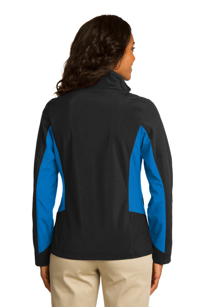 Port Authority L318 Womens Core Wind & Water Resistant Full Zip Jacket Black/Royal Blue Back