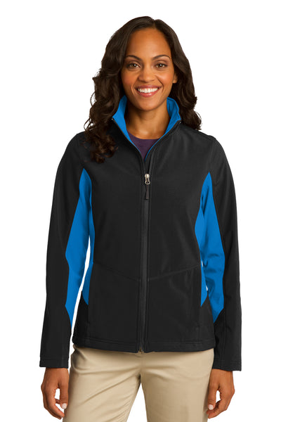 Port Authority L318 Womens Core Wind & Water Resistant Full Zip Jacket Black/Royal Blue Front