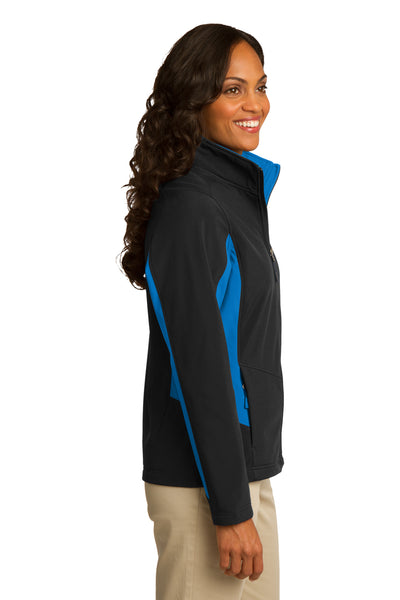 Port Authority L318 Womens Core Wind & Water Resistant Full Zip Jacket Black/Royal Blue Side