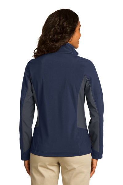 Port Authority L318 Womens Core Wind & Water Resistant Full Zip Jacket Navy Blue/Grey Back