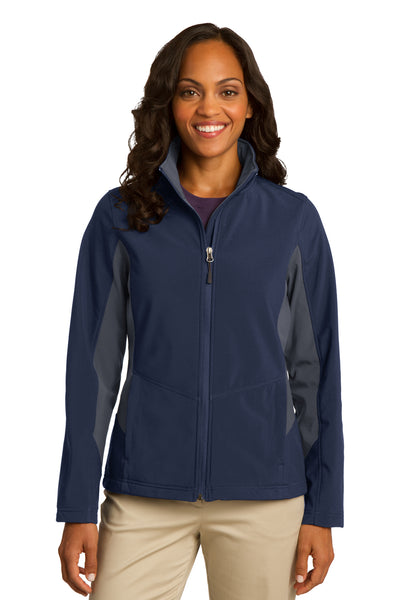 Port Authority L318 Womens Core Wind & Water Resistant Full Zip Jacket Navy Blue/Grey Front