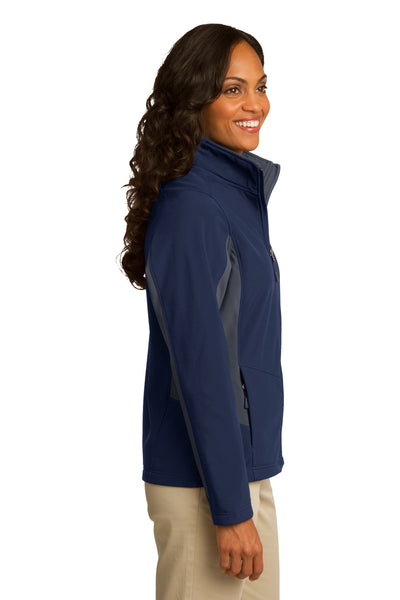 Port Authority L318 Womens Core Wind & Water Resistant Full Zip Jacket Navy Blue/Grey Side