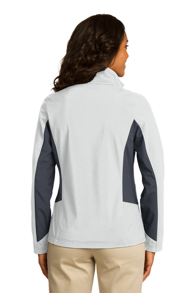 Port Authority L318 Womens Core Wind & Water Resistant Full Zip Jacket White/Grey Back