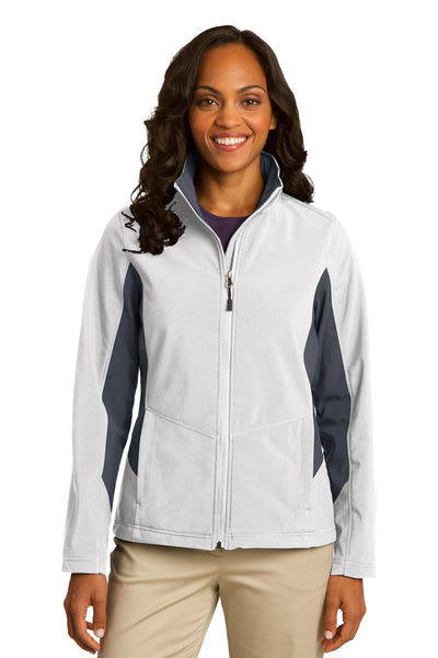 Port Authority L318 Womens Core Wind & Water Resistant Full Zip Jacket White/Grey Front