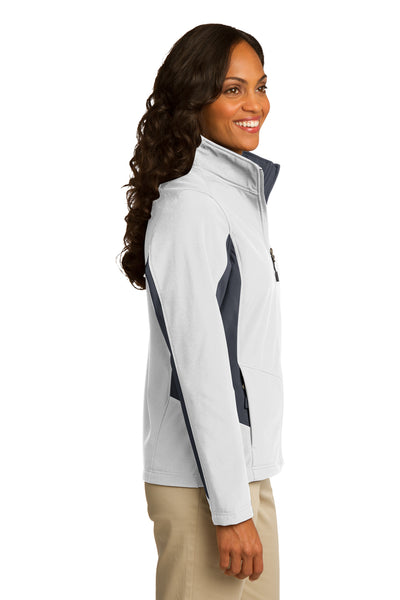 Port Authority L318 Womens Core Wind & Water Resistant Full Zip Jacket White/Grey Side
