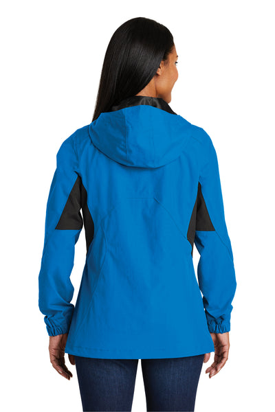 Port Authority L322 Womens Cascade Waterproof Full Zip Hooded Jacket Imperial Blue/Black Back