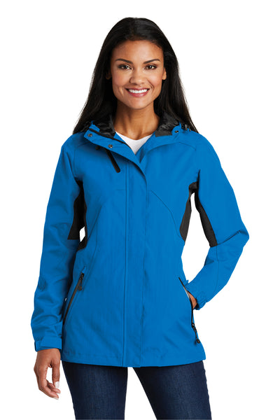 Port Authority L322 Womens Cascade Waterproof Full Zip Hooded Jacket Imperial Blue/Black Front