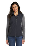 Port Authority L325 Womens Core Wind & Water Resistant Full Zip Vest Battleship Grey Front