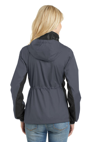 Port Authority L330 Womens Core Wind & Water Resistant Full Zip Jacket Battleship Grey/Black Back