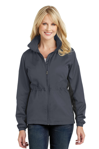 Port Authority L330 Womens Core Wind & Water Resistant Full Zip Jacket Battleship Grey/Black Front