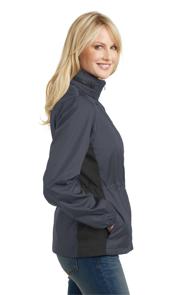 Port Authority L330 Womens Core Wind & Water Resistant Full Zip Jacket Battleship Grey/Black Side