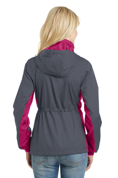 Port Authority L330 Womens Core Wind & Water Resistant Full Zip Jacket Battleship Grey/Rose Pink Back