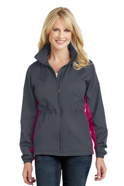 Port Authority L330 Womens Core Wind & Water Resistant Full Zip Jacket Battleship Grey/Rose Pink Front