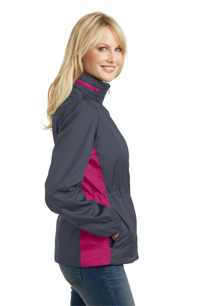 Port Authority L330 Womens Core Wind & Water Resistant Full Zip Jacket Battleship Grey/Rose Pink Side