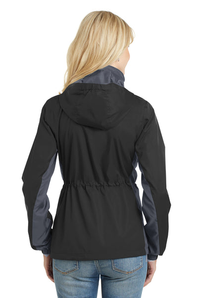 Port Authority L330 Womens Core Wind & Water Resistant Full Zip Jacket Black/Grey Back