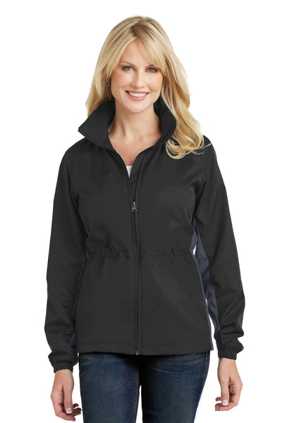 Port Authority L330 Womens Core Wind & Water Resistant Full Zip Jacket Black/Grey Front