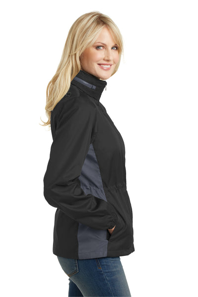 Port Authority L330 Womens Core Wind & Water Resistant Full Zip Jacket Black/Grey Side