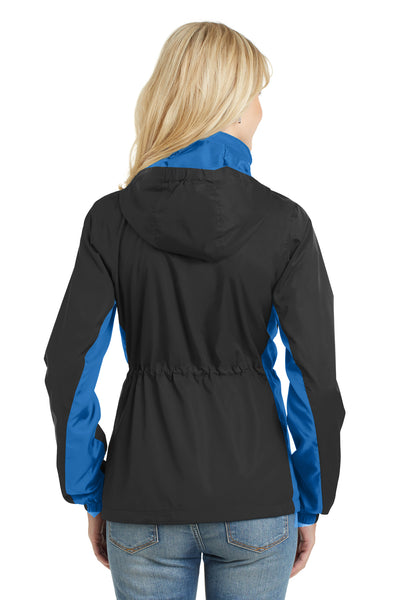 Port Authority L330 Womens Core Wind & Water Resistant Full Zip Jacket Black/Royal Blue Back