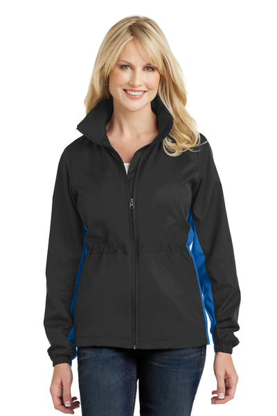 Port Authority L330 Womens Core Wind & Water Resistant Full Zip Jacket Black/Royal Blue Front