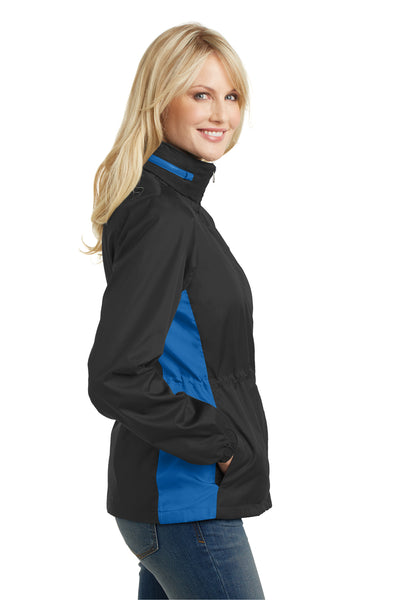 Port Authority L330 Womens Core Wind & Water Resistant Full Zip Jacket Black/Royal Blue Side