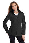 Port Authority L333 Womens Torrent Waterproof Full Zip Hooded Jacket Black Front