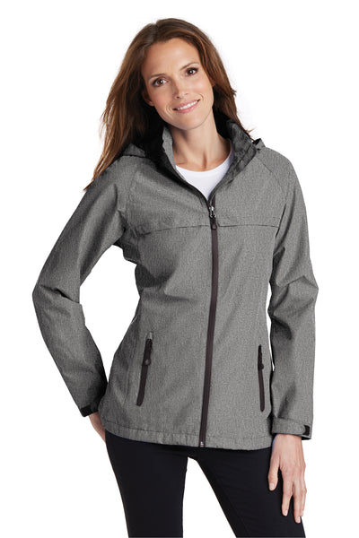 Port Authority L333 Womens Torrent Waterproof Full Zip Hooded Jacket Heather Dark Grey Front
