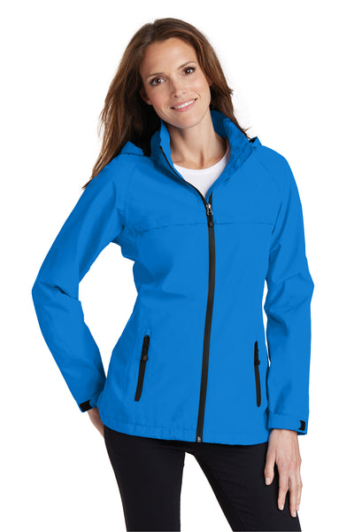 Port Authority L333 Womens Torrent Waterproof Full Zip Hooded Jacket Direct Blue Front