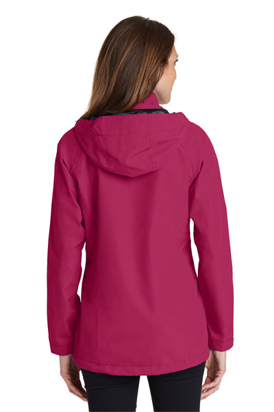 Port Authority L333 Womens Torrent Waterproof Full Zip Hooded Jacket Fuchsia Pink Back