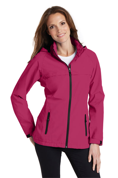 Port Authority L333 Womens Torrent Waterproof Full Zip Hooded Jacket Fuchsia Pink Front