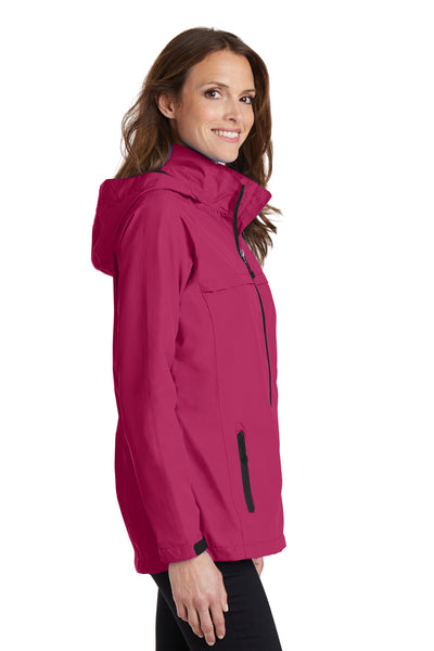 Port Authority L333 Womens Torrent Waterproof Full Zip Hooded Jacket Fuchsia Pink Side