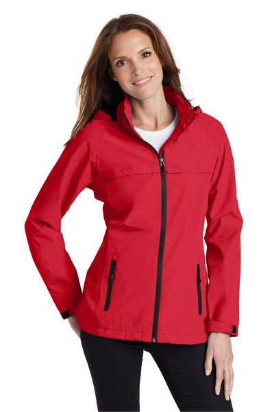 Port Authority L333 Womens Torrent Waterproof Full Zip Hooded Jacket Red Front