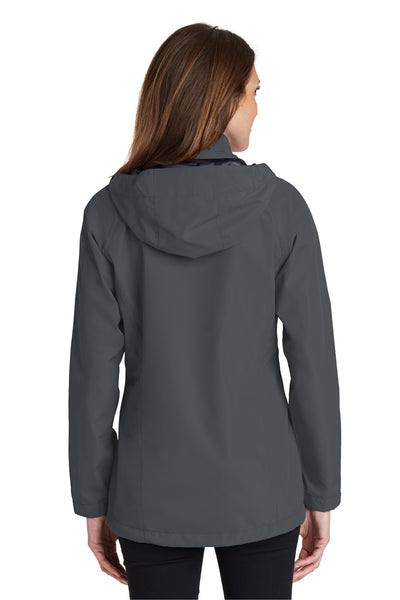 Port Authority L333 Womens Torrent Waterproof Full Zip Hooded Jacket Grey Back