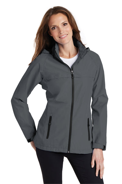 Port Authority L333 Womens Torrent Waterproof Full Zip Hooded Jacket Grey Front