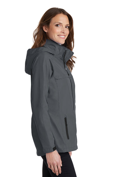 Port Authority L333 Womens Torrent Waterproof Full Zip Hooded Jacket Grey Side