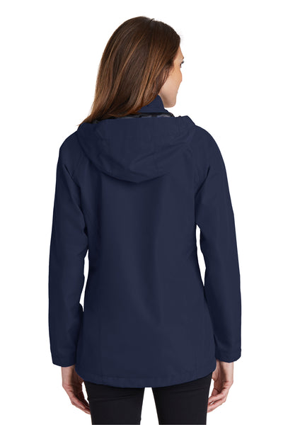 Port Authority L333 Womens Torrent Waterproof Full Zip Hooded Jacket Navy Blue Back