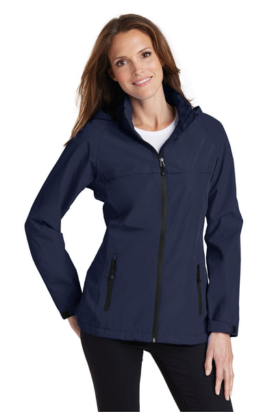 Port Authority L333 Womens Torrent Waterproof Full Zip Hooded Jacket Navy Blue Front