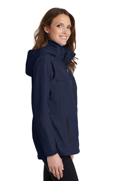 Port Authority L333 Womens Torrent Waterproof Full Zip Hooded Jacket Navy Blue Side