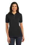 Port Authority L420 Womens Short Sleeve Polo Shirt Black Front