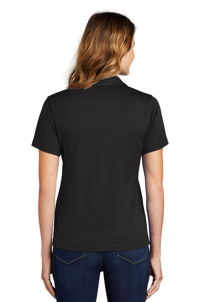 Sport-Tek L469 Womens Dri-Mesh Moisture Wicking Short Sleeve Polo Shirt Black Back