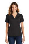 Sport-Tek L469 Womens Dri-Mesh Moisture Wicking Short Sleeve Polo Shirt Black Front