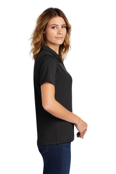 Sport-Tek L469 Womens Dri-Mesh Moisture Wicking Short Sleeve Polo Shirt Black Side