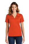Sport-Tek L469 Womens Dri-Mesh Moisture Wicking Short Sleeve Polo Shirt Orange Front