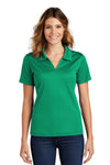 Sport-Tek L469 Womens Dri-Mesh Moisture Wicking Short Sleeve Polo Shirt Kelly Green Front