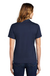 Sport-Tek L469 Womens Dri-Mesh Moisture Wicking Short Sleeve Polo Shirt Navy Blue Back