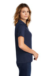 Sport-Tek L469 Womens Dri-Mesh Moisture Wicking Short Sleeve Polo Shirt Navy Blue Side