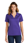 Sport-Tek L469 Womens Dri-Mesh Moisture Wicking Short Sleeve Polo Shirt Purple Front