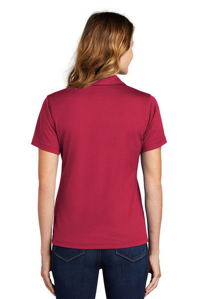 Sport-Tek L469 Womens Dri-Mesh Moisture Wicking Short Sleeve Polo Shirt Red Back