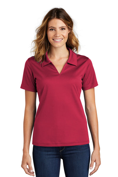 Sport-Tek L469 Womens Dri-Mesh Moisture Wicking Short Sleeve Polo Shirt Red Front